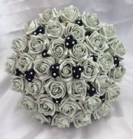 WEDDING FLOWERS ARTIFICIAL BLACK/SILVER FOAM ROSE WEDDING BRIDE BOUQUET